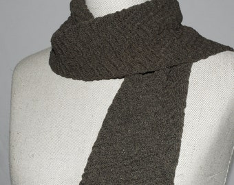 Little knit scarf, small knitted scarf , brown merino wool scarf, chocolate handmade knitted scarf with texture, dark grey merino, festotu