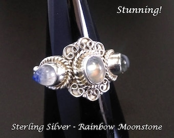 Superb Sterling Silver Ring with 3 Gorgeous Rainbow Moonstones | Ring Size 8 1/4 US | Gemstone Ring, Gifts for Women, Moonstone Ring, 241