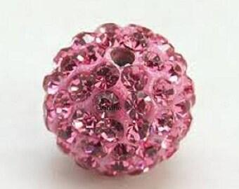 Shamballa 10mm Pink Rhinestone disco beads