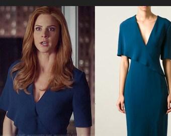 draped neck  pencil shape dress custom made all sizes celeb inspired