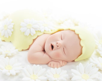 Daisy Baby Sugar Paste Cake Topper with Yellow Blanket & Daisies for Baby Shower by lil sculpture