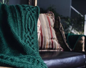 Forest green cable knit lap/shoulder wrap/throw blanket ONLY ONE AVAILABLE