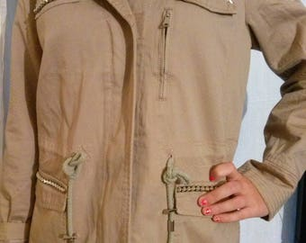Beige canvas long sleeve jacket