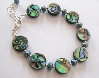 Abalone Beads Freshwater Pearl Bracelet, Sterling Silver, Iridescent Reversible Bracelet, Adjustable