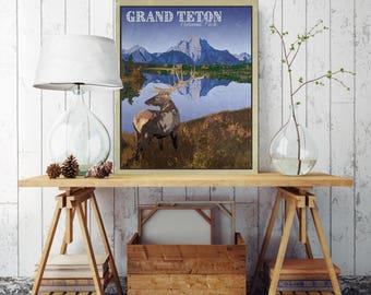 Grand Teton National Park, Vintage Poster Canvas Print, Printed on Canvas, Vintage Wall Decor, Grand Teton National Park Wall, Poster, Art