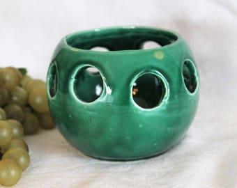 Vintage Green Ceramic Succulents Planter or Votive Candle Holder - UP 78