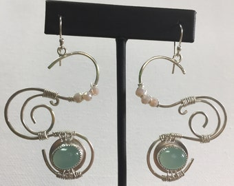 Sterling Silver Wire Wrapped Dangle Earrings with Chalcedony