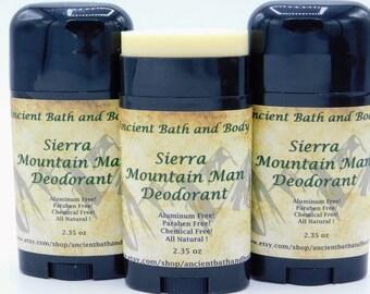 Sierra Mountain Man Deodorant, Aluminum Free Deodorant, Chemical Free Deodorant, Natural Deodorant