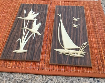 Vintage Wall Hangings..Mid Century design! Seagulls cattails and  boat! Faux wood and ivory..very retro cool!