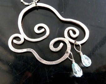 Rain Drops pendant Chance of Showers Cloud in the wind with blue topaz in sterling silver necklace OOAK jewelry