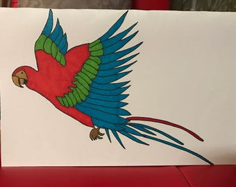 Flying Macaw Handpainted Greeting Card!!