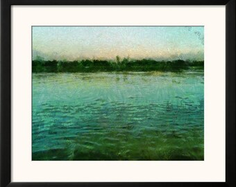 Printable Wall Art Digital Painting Instant Download Mississippi River Sunset Poster JPEG Print