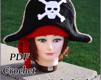 Crochet Pattern:Adult Pirate Hat,Pirate Hat Crochet Pattern,Crochet Hat Pattern,Pirate Costume Crochet Pattern,Halloween Costume,Pirate Hat