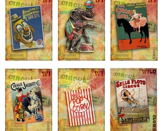Circus Tags printable, Circus Cards, Vintage Clown Tags, Elephants, Carnival Birthday Party, digital collage, scrapbook,popcorn tags, School