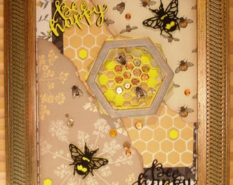 "Handmade art ""bee happy"""