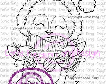 Digital Stamp, Digi Stamp, digistamp, Joy to the World by Conie Fong, Penguin, Christmas, coloring page
