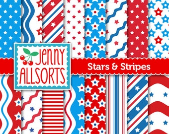 Stars and Stripes Digital Scrapbooking Scrapbook Patriotic Paper Pack - Instant Download
