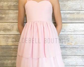 Pink Chiffon Flower Girl Dress - Light Pink - Toddler chiffon dress - Blush - Special Occasion dress - Toddler dress - Custom Dresses