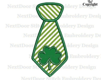 Embroidery Machine Design Applique, St. Patric's day applique, Irish necktie embroidery file instant download, tie-006