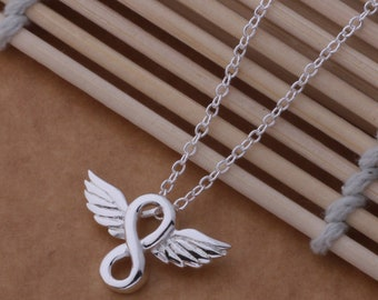 Guardian angel infinity necklace, protection love gift silver chain pendant choker wings feathers