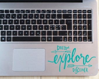 Dream Explore Discover Decal, Quote Decal, Positive Thoughts, Motivational, Inspirational, Explorer Gift, Camper Decal, RV Decal, Travel