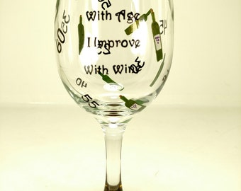 Hand painted wine glass wino lover birthday glass aged wine twenty-first party cup winery mead grapes decor maker taster senior drinker