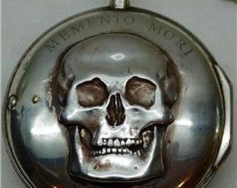 MUSEUM Sweden Silver Verge Fusee Doctors Skull Memento Mori watch J.Hovenschiold