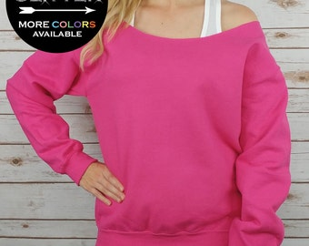 CUSTOM PERSONALIZED Raw Edge Off Shoulder Sweatshirt - Choose from loads of shirt colors, 15 glitter colors and sizes SM-4XL