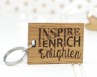 Inspire Enrich And Enlighten Keyring - Gift For Teachers - Teacher Gift - Teacher Personalised - Thoughtful Gift - Wooden Keyring - New Job