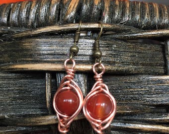 Earrings Wire Wrapped, Copper wire,  Carnelian Crystal with Silver Bead Beads Caps