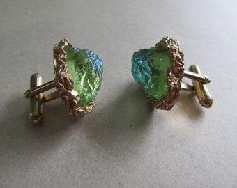 Vintage Swank GLASS Cufflinks Iridescent Blue Green Baroque Men's Jewelry Shirt Accessories 1970's Cuff Links MoonlightMartini
