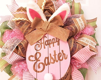 Easter gifts and decorations etsy easter wreath with rabbit bunny wreath spring wreath negle Image collections
