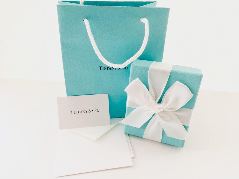 Tiffany & Co. Authentic Blue Bag, Cardboard Box, White Ribbon ...