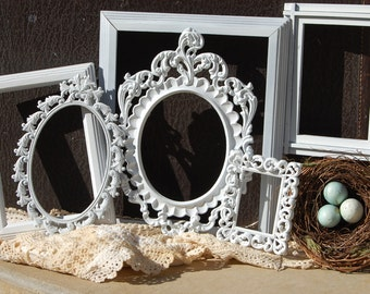 Set Of 6 Picture Frames,Wedding Nursery Shabby Chic Frames,Distressed Ornate Frame Collection