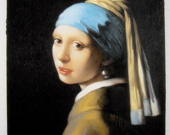 hand painted Vermeer Girl with a Pearl Earring Johannes Vermeer oil painting  reproduction on canvas for home decor wall art or gift