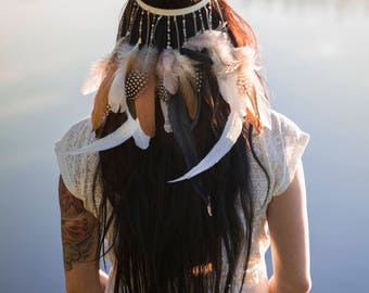 Boho flexible hair band with flowers&feathers