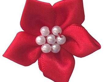 Five Petal Pearl Cluster Ribbon Flower Red