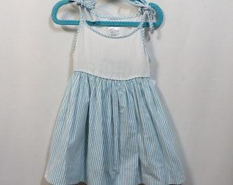 Vintage 50s Sundress Pinafore Dress Cotton Stripes Rockabilly 1950s 24M Toddler Summer