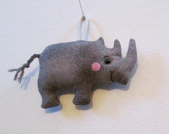 TWO OPTIONS - Fabric Mini-Rhinoceros (Rhino) keychain, ornament, accessory