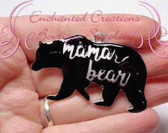 "2"" Mama Black Bear Charm, Chunky Pendant, Keychain, Bookmark, Zipper Pull, Chunky Jewelry, Purse or Planner Charm, See Baby Bear Charm Too"