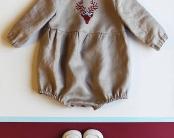 Baby Romper, Baby Outfit, Linen Romper, Christmas Reindeer, Newborn Baby Clothes, Toddler Clothes, Linen Baby, Christmas Baby Outfit