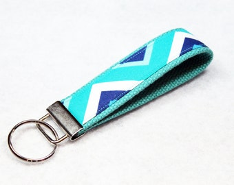 Fabric Key Fob, Key Chain, Key Ring, Key Holder, Wristlet Key Fob, Wristlet Keychain, Fabric Key fobs-Marine Chevron