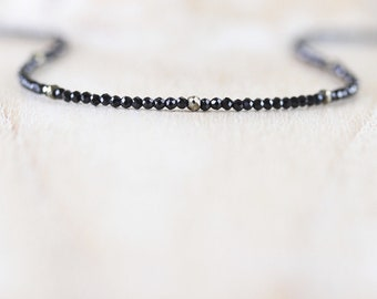 Pyrite & Black Spinel Beaded Necklace. Long Delicate Layering Necklace. Gemstone Choker. Sterling Silver, Rose, Gold Filled. Womans Jewelry