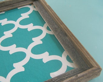 Driftwood Framed Magnetic Board Turquoise Quatrefoil Print Rustic Pin Board Moroccan Cork Board Office Kitchen Memo Board