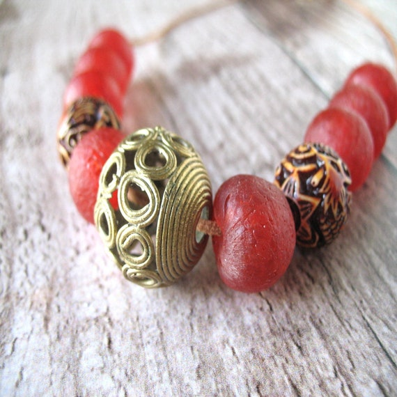 Fairtrade Beaded Necklace in Carved Sandalwood, Cherry Red Recycled Glass and Brass Lost Wax Casting Beads from Africa w Beige Leather Cord