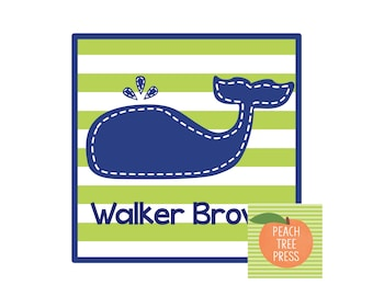 Calling Card {Navy Stitch Whale}