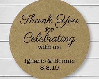 Thank You for celebrating with us Stickers, Kraft Thank You Stickers, Printed Stickers, Wedding Favor Thank You Labels  (#070-KR)