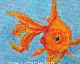 Goldfish - Goldfish Art - Fancy Goldfish - Paper - Canvas - Wood Block - Giclee Print