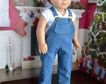 18 inch Doll Clothes - Medium Wash Overall Blue Jean with real pockets - Country Style - boy or girl dolls -fit American Girl- MADE TO ORDER