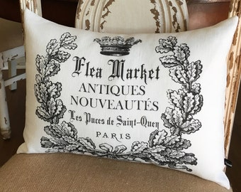 French Flea Market pillow cover 12x16 linen or canvas farmhouse cottage chic decor cushion #245 FlossieandRay